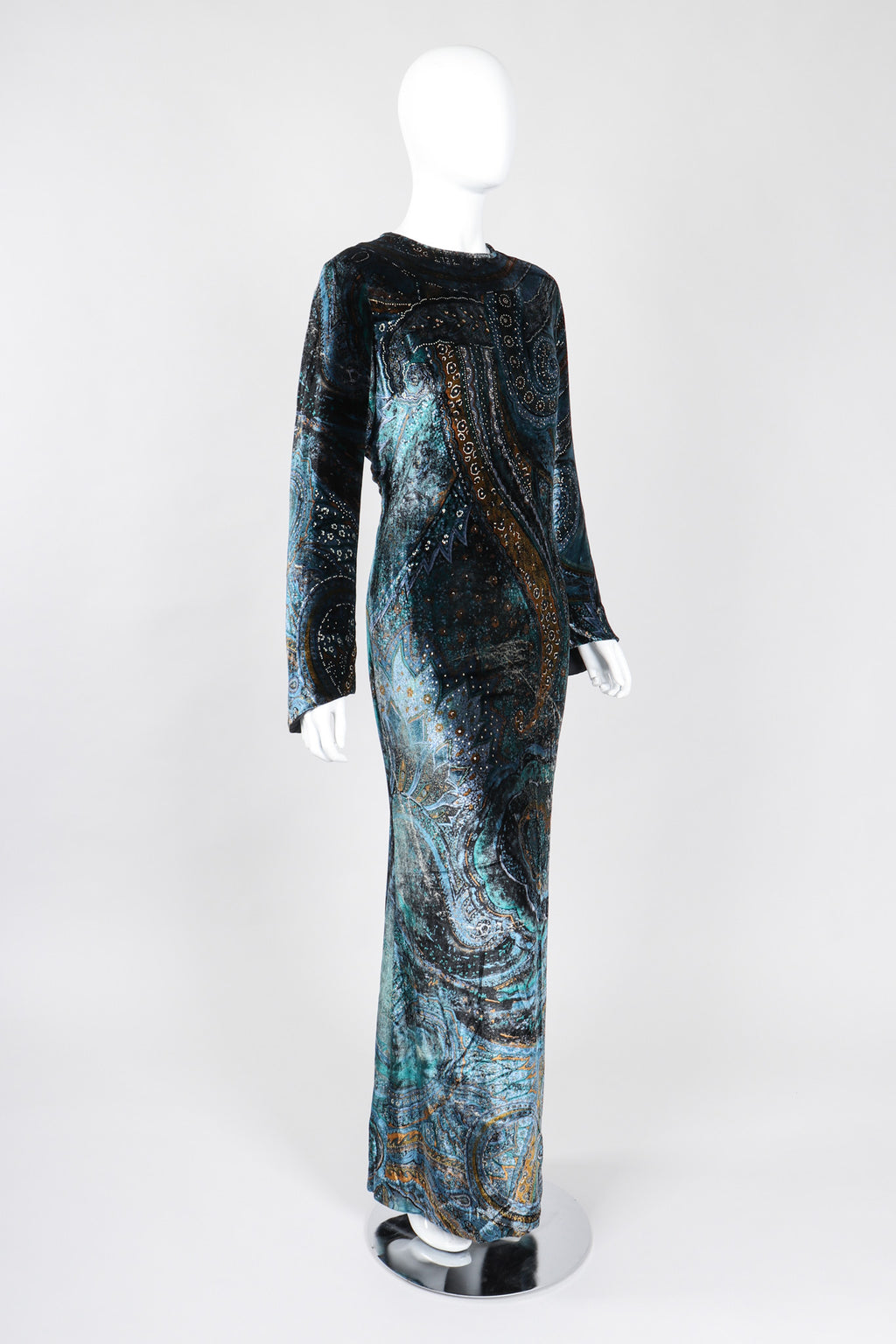 Recess Los Angeles Vintage YSL Yves Saint Laurent Cosmic Paisley Abraham Velvet Gown