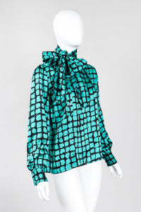 Recess Los Angeles Vintage Yves Saint Laurent YSL Graphic Silk Bow Blouse & Tie Scarf