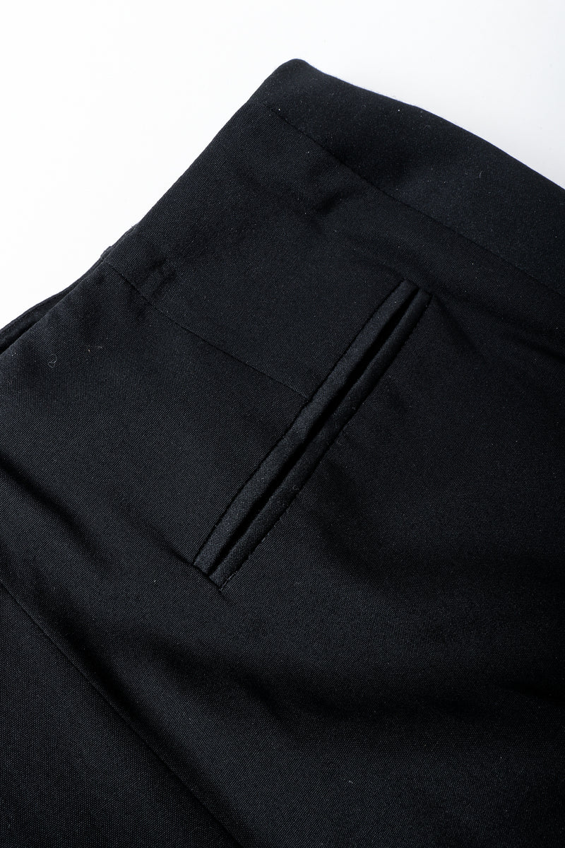 Vintage YSL Saint Laurent Black Clean Waist Tuxedo Trouser Back Pocket