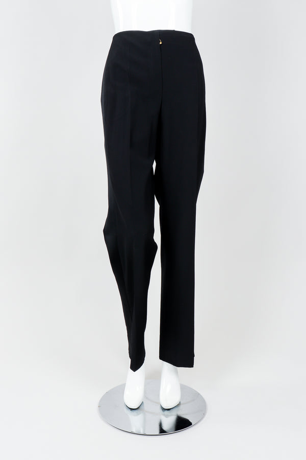 Vintage YSL Saint Laurent Black Clean Waist Tuxedo Trousers on Mannequin Front, at Recess
