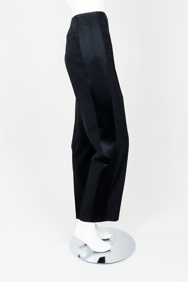 Vintage YSL Saint Laurent Black Clean Waist Tuxedo Trousers on Mannequin Side, at Recess
