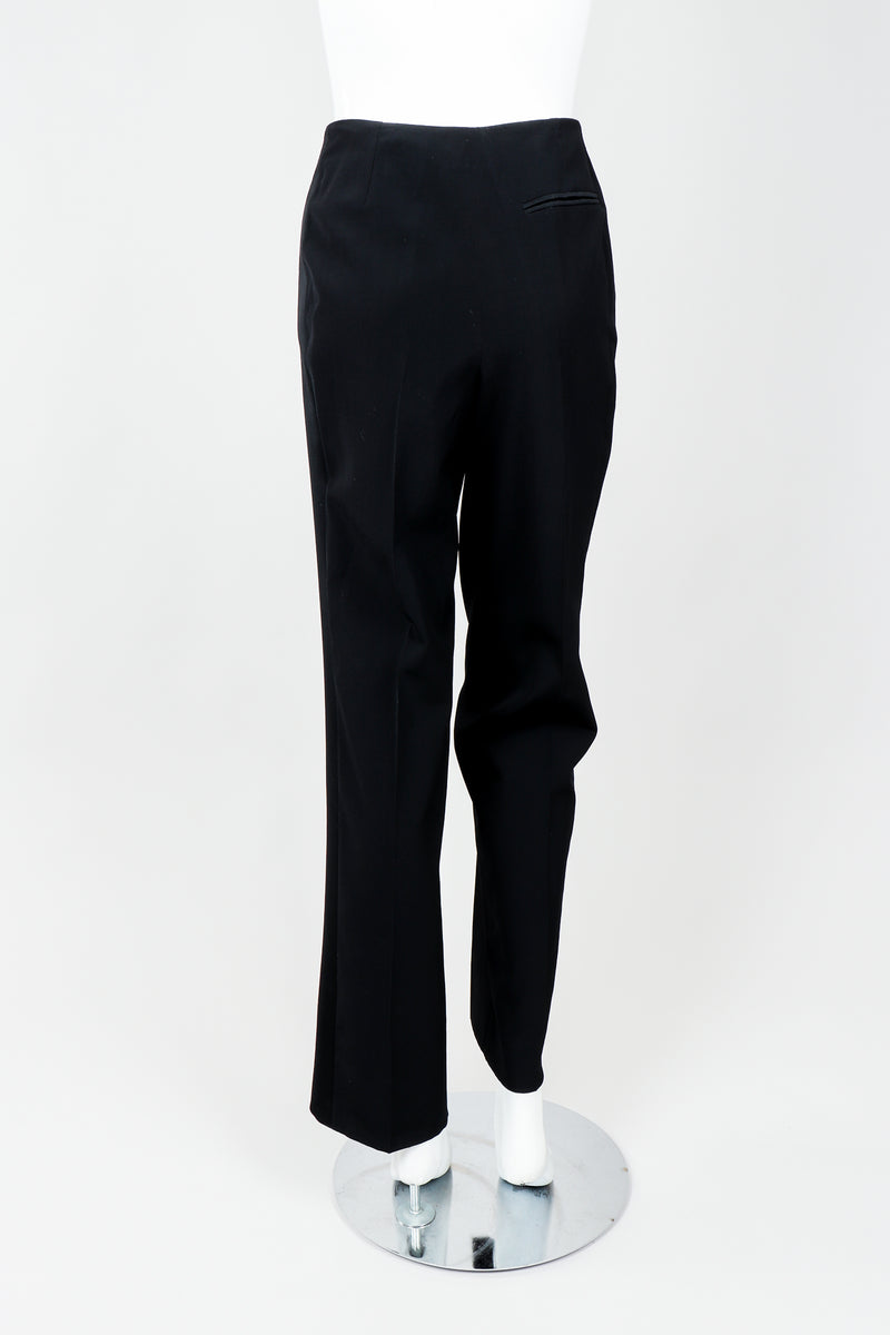 Vintage YSL Saint Laurent Black Clean Waist Tuxedo Trousers on Mannequin Back, at Recess