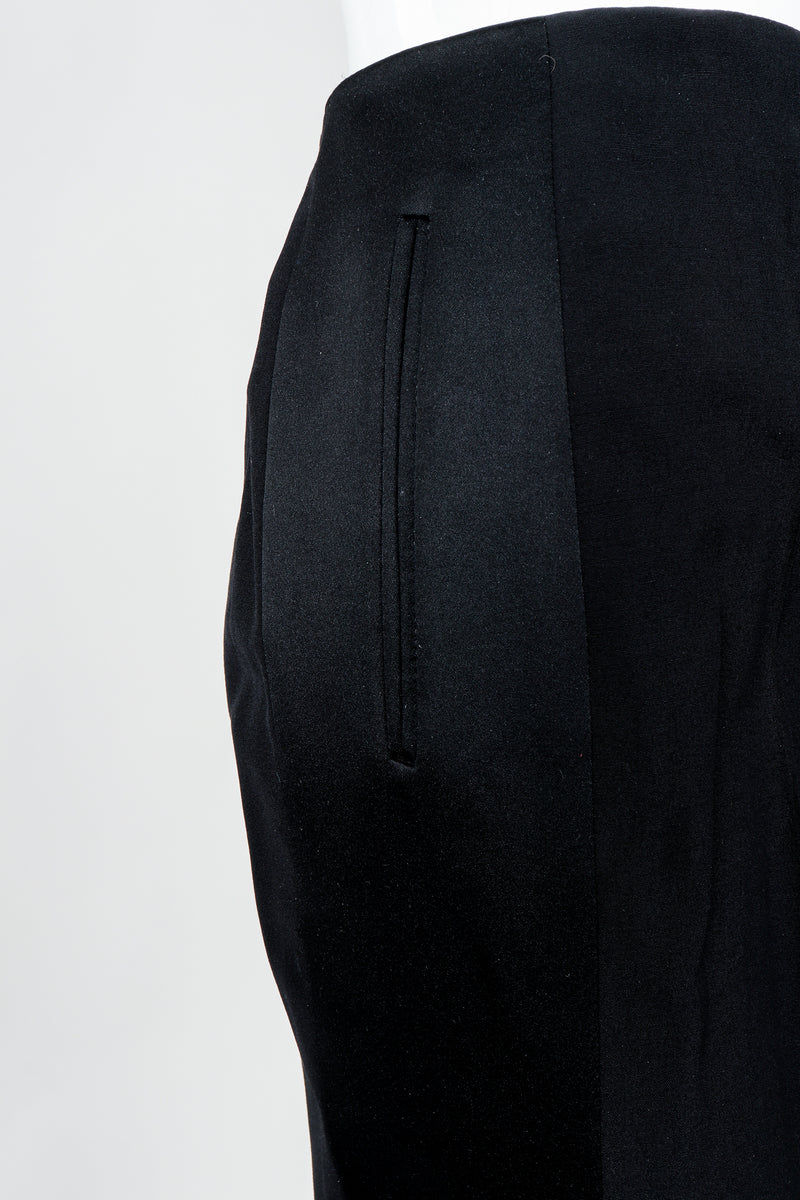 Vintage YSL Saint Laurent Black Clean Waist Tuxedo Trousers on Mannequin pockets, at Recess