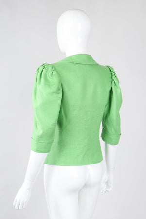 Recess Los Angeles Vintage YSL Yves Saint Laurent Spring Green Mid Puff Sleeve Linen Flax Jacket