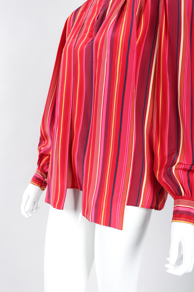 Recess Los Angeles Vintage YSL Yves Saint Laurent Pink Striped Silk Bow Blouse