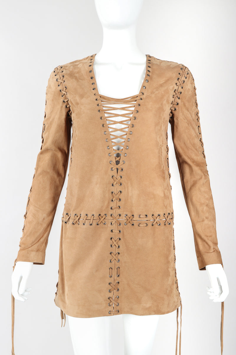 Recess Designer Consignment Vintage Yves Saint Laurent YSL Suede Laced Minidress Tunic Los Angeles Resale