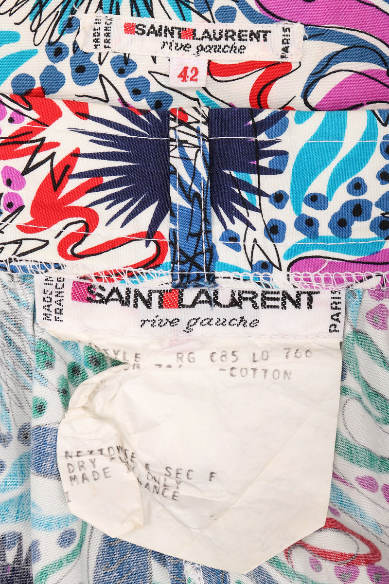 Recess Los Angeles Vintage Yves Saint Laurent YSL Ocean Sketch Printed Shirt & Short Outfit Set