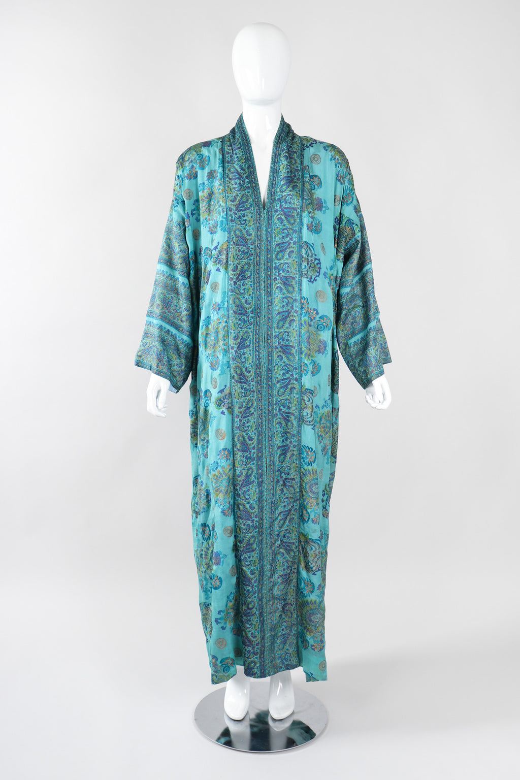 Recess Los Angeles Vintage Saks Fifth Ave Indian Block Print Silk Palm Springs Caftan