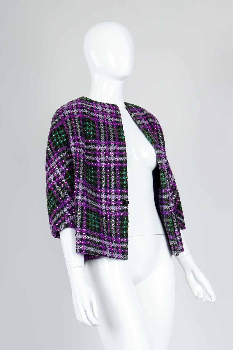 Recess Vintage Oleg Cassini Sequin Plaid Boxy Jacket on Mannequin, open angled
