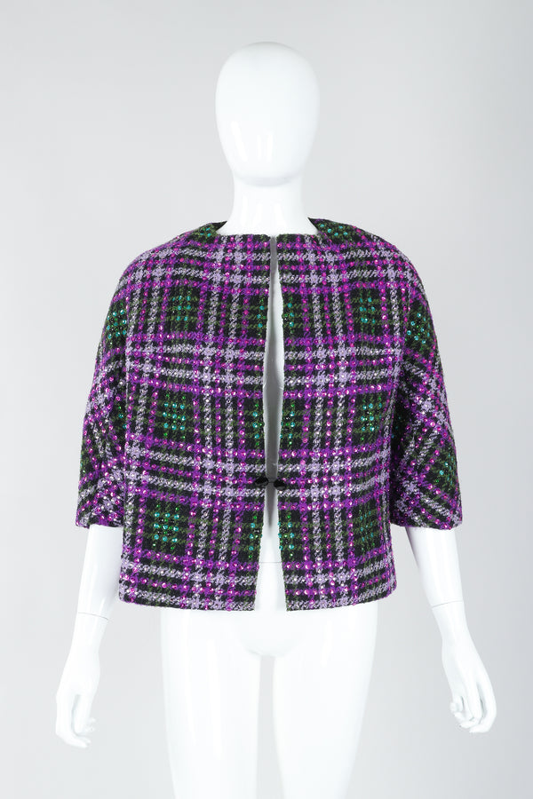 Recess Vintage Oleg Cassini Sequin Plaid Boxy Jacket on Mannequin, closed
