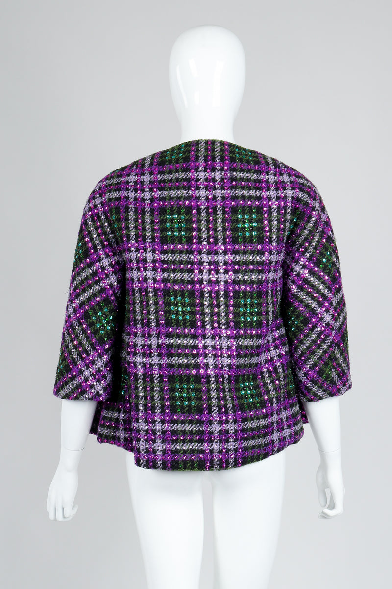 Recess Vintage Oleg Cassini Sequin Plaid Boxy Jacket on Mannequin, back view