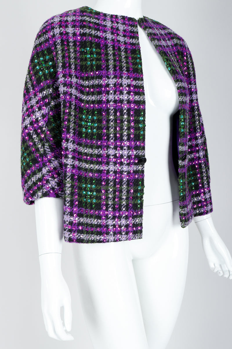 Recess Vintage Oleg Cassini Sequin Plaid Boxy Jacket on Mannequin, top closed