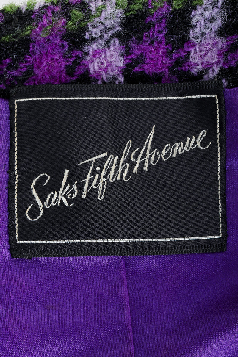 Recess Vintage Saks Fifth Ave label on purple plaid fabric