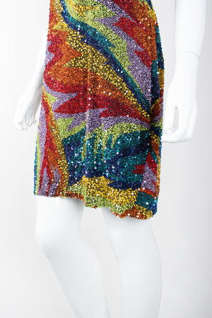 Recess Los Angeles Vintage Saks Fifth Ave Electric Rainbow Sand Art Beaded Cocktail Dress