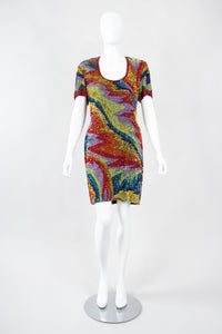 Recess Los Angeles Vintage Saks Fifth Ave Electric Rainbow Ziggy Stardust Sand Art Beaded Cocktail Dress