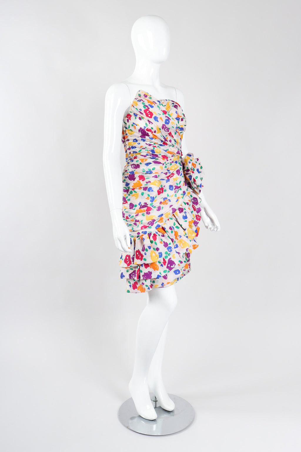 Recess Los Angeles Vintage After Five By Julie Duroché Asymmetrical Strapless Floral Party Dress