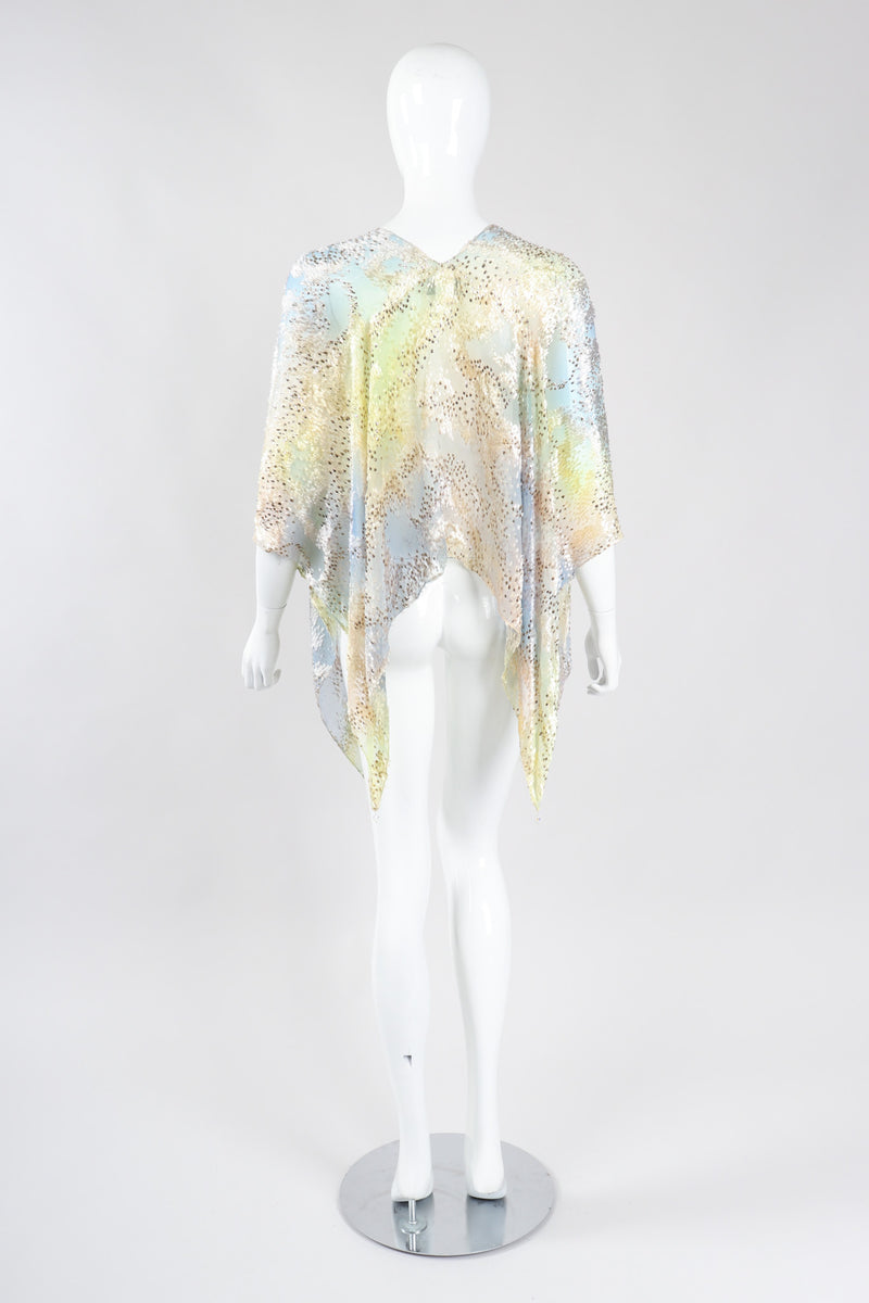 Recess Los Angeles Vintage Hollys Harp Ethereal Sheer Velvet Lamé Burnout Poncho Top