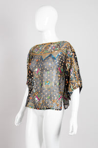 Saks Fifth Ave Vintage Sheer Sequin Chiffon Box Butterfly Top
