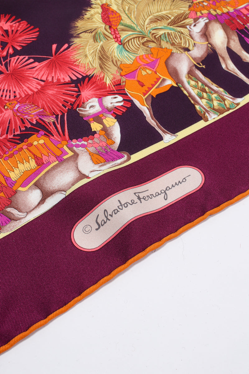 Vintage Salvatore Ferragamo Medina Camel Parade Silk Scarf signature at Recess Los Angeles
