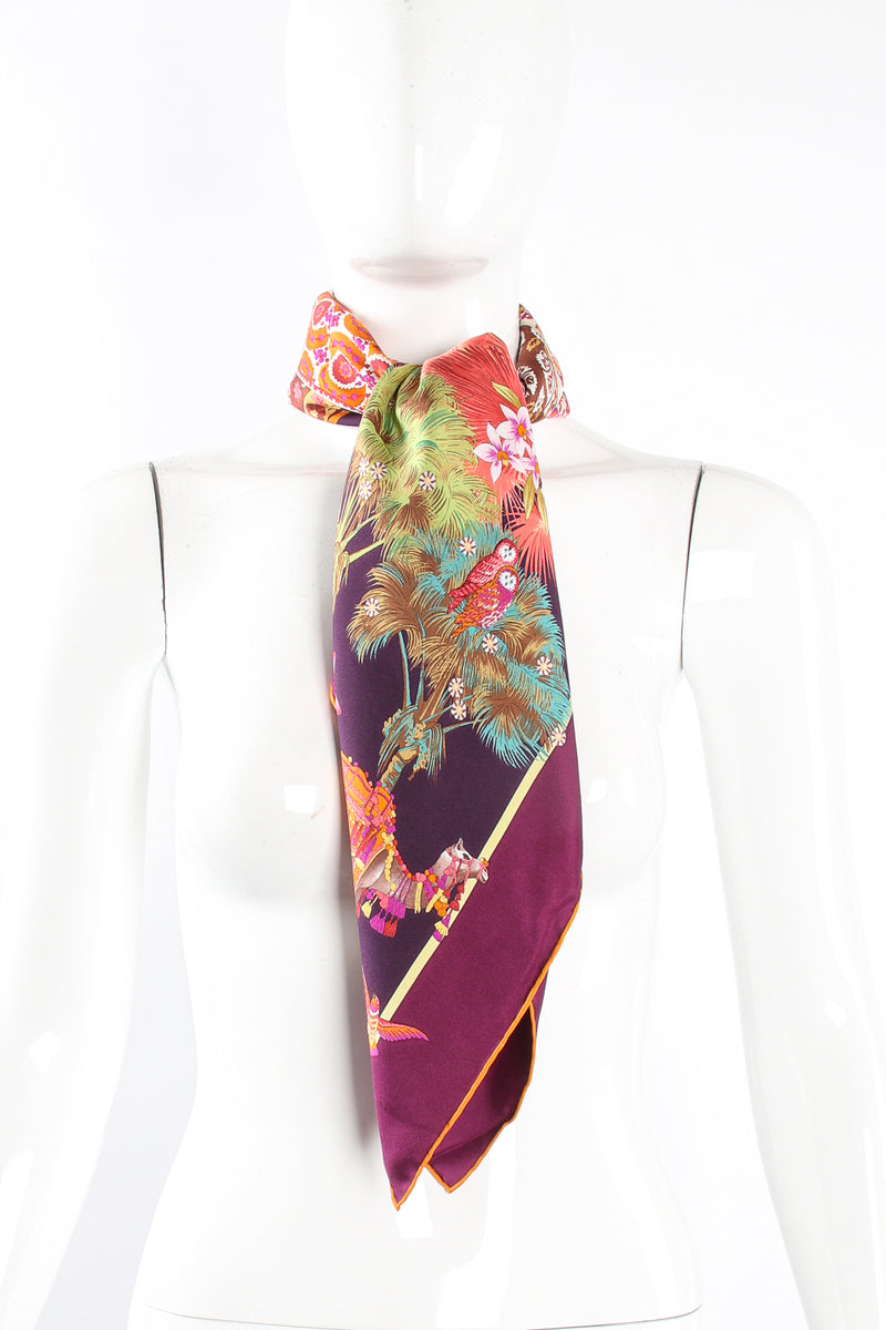 Vintage Salvatore Ferragamo Medina Camel Parade Silk Scarf on Mannequin at Recess Los Angeles
