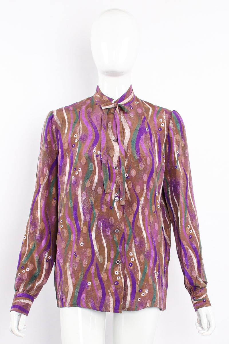 Vintage Samuel Robert by Peter Hatsi-Androu Streamer Blouse on mannequin front at Recess LA