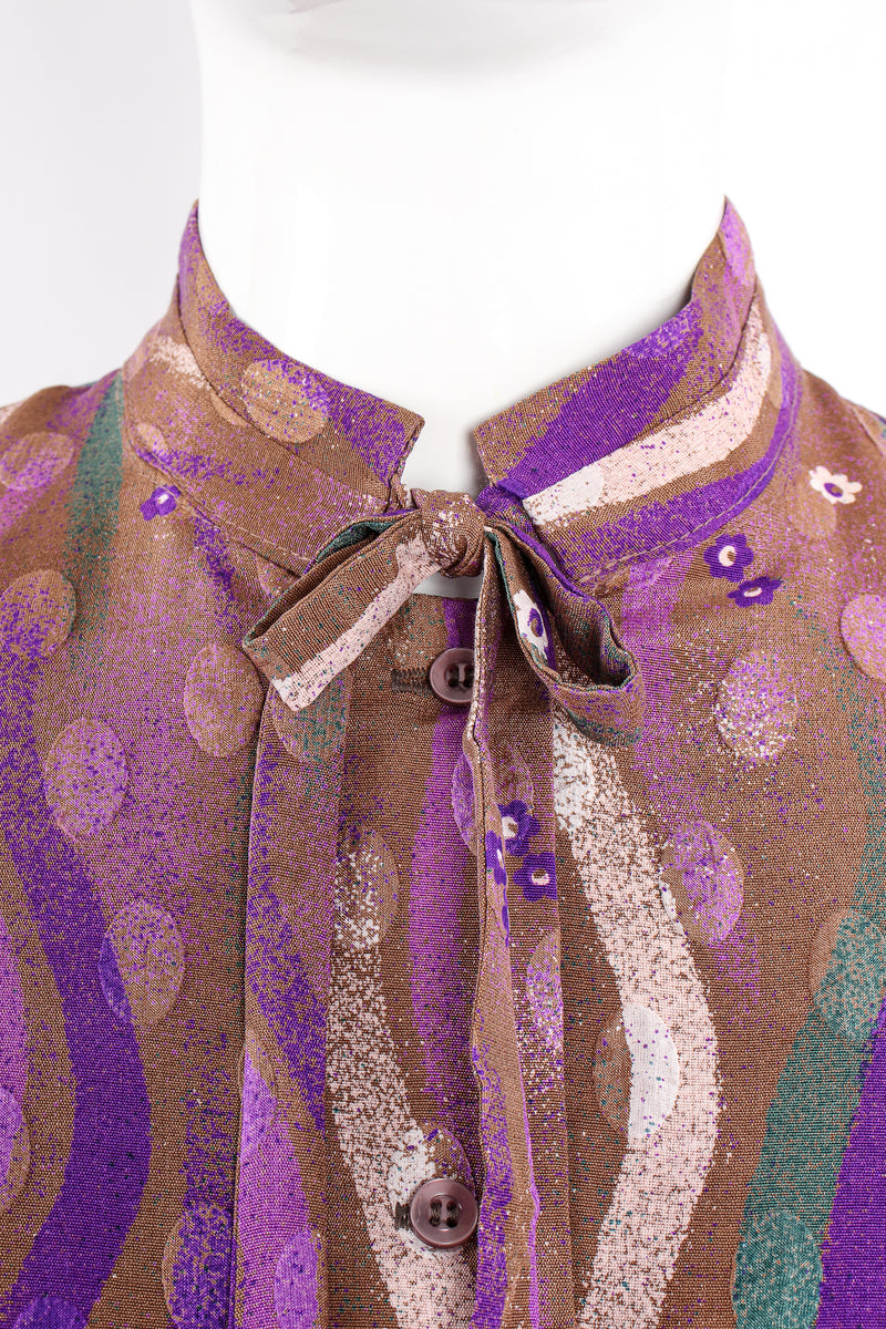 Vintage Samuel Robert by Peter Hatsi-Androu Streamer Blouse on mannequin tie detail at Recess LA