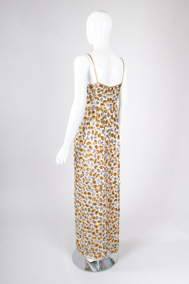 Recess Los Angeles Vintage 70s Saz by Surjit And Adarsh Gill Mixed Metal Sequined Ovals Jelly Bean Gown