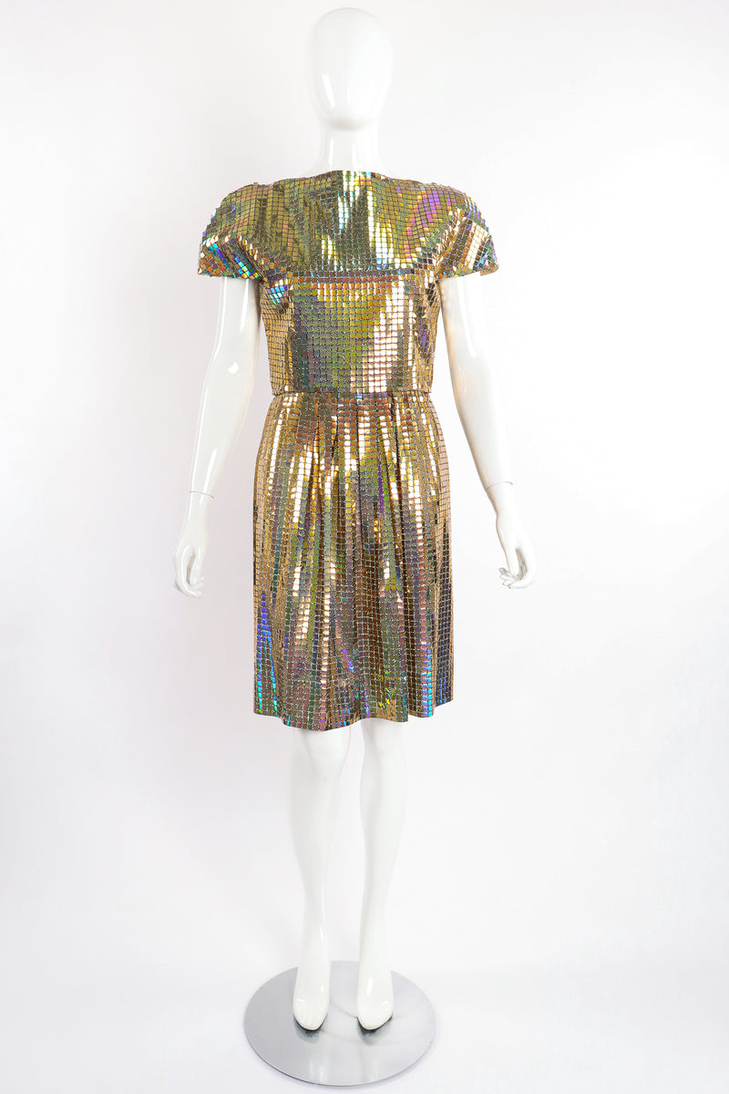Vintage Scaasi Boutique Holographic Tile Disco Dress on Mannequin front at Recess Los Angeles