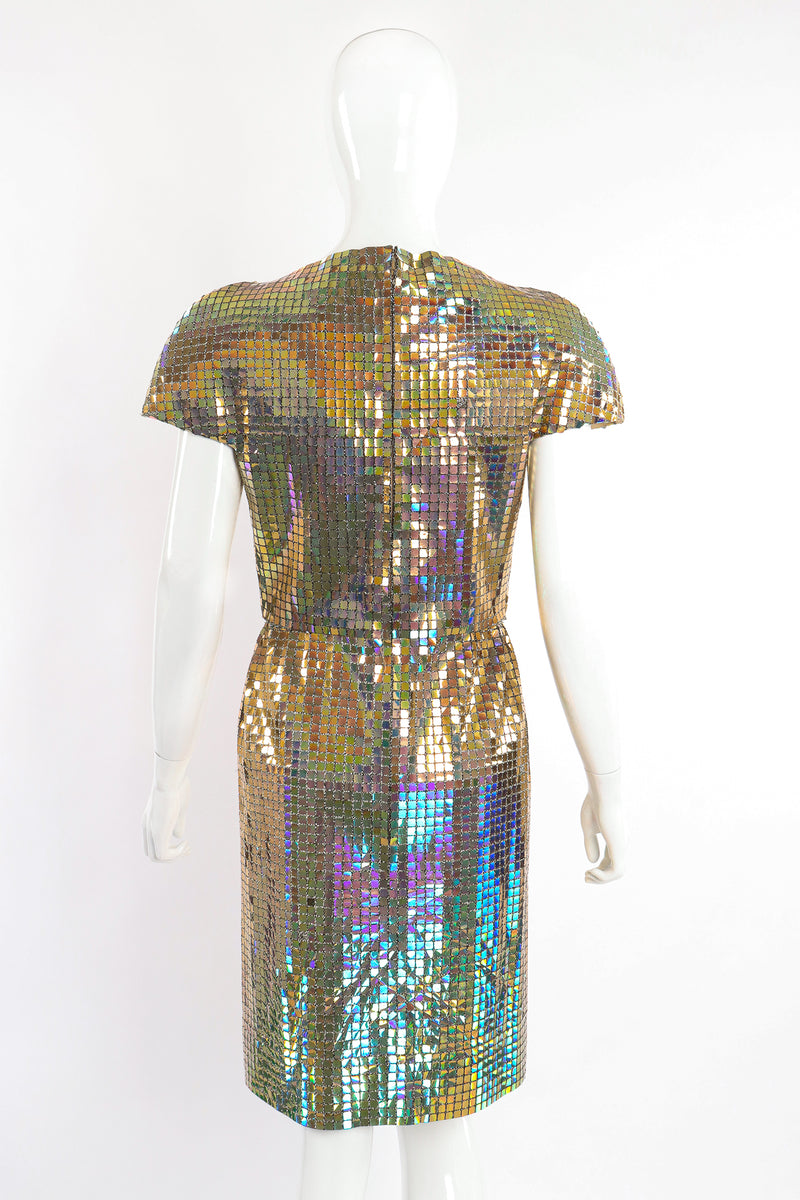 Vintage Scaasi Boutique Holographic Tile Disco Dress on Mannequin back crop at Recess Los Angeles