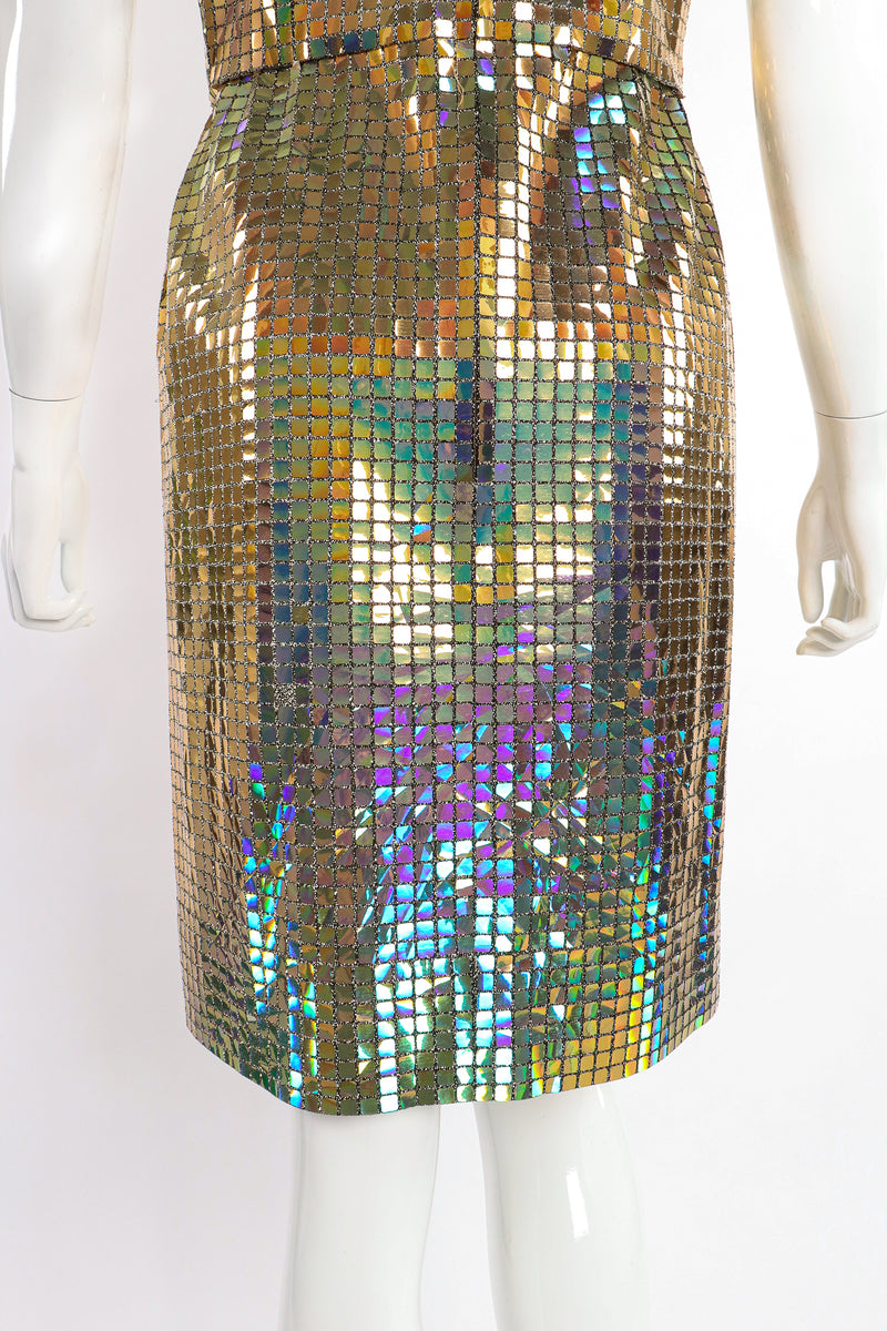 Vintage Scaasi Boutique Holographic Tile Disco Dress on Mannequin back skirt at Recess Los Angeles
