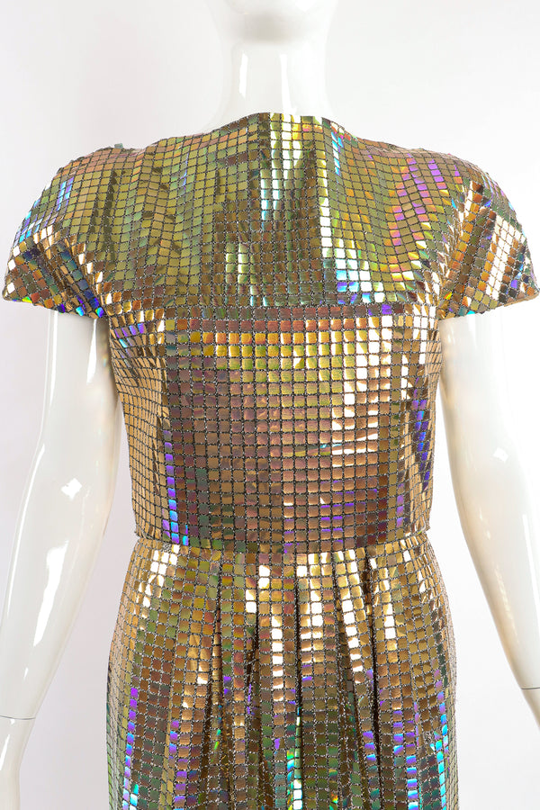 Vintage Scaasi Boutique Holographic Tile Disco Dress on Mannequin front crop at Recess Los Angeles