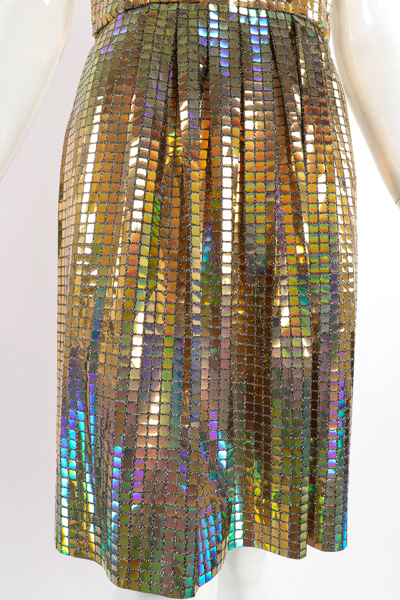 Vintage Scaasi Boutique Holographic Tile Disco Dress on Mannequin skirt at Recess Los Angeles