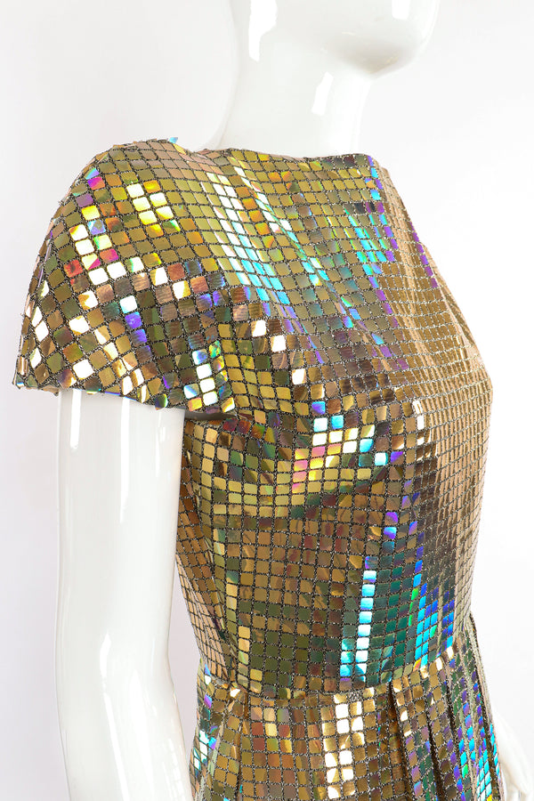 Vintage Scaasi Boutique Holographic Tile Disco Dress on Mannequin angle at Recess Los Angeles