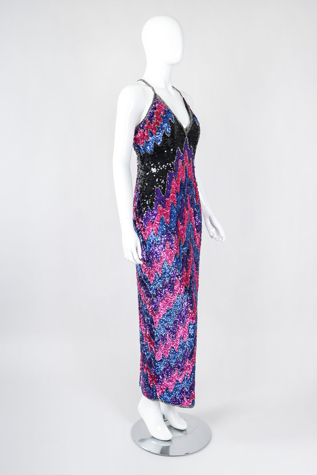 Recess Los Angeles Vintage Shomax Melted Chevron Sequin Dress