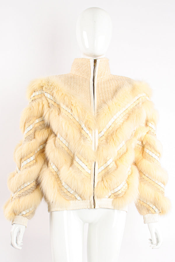 Vintage Signatures Woven Fur Chevron Bomber on Mannequin front zip at Recess Los Angeles
