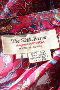 Vintage The Silk Farm Sheer Floral Stripe Ruffle Blouse label at Recess Los Angeles