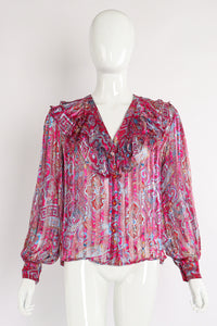 Vintage The Silk Farm Sheer Floral Stripe Ruffle Blouse on Mannequin front at Recess Los Angeles