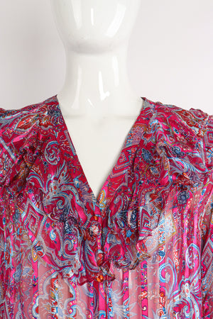 Vintage The Silk Farm Sheer Floral Stripe Ruffle Blouse on Mannequin neckline at Recess Los Angeles