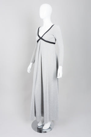 Rudi Gernreich Metallic Lamé Cross My Heart Empire Waist Dress