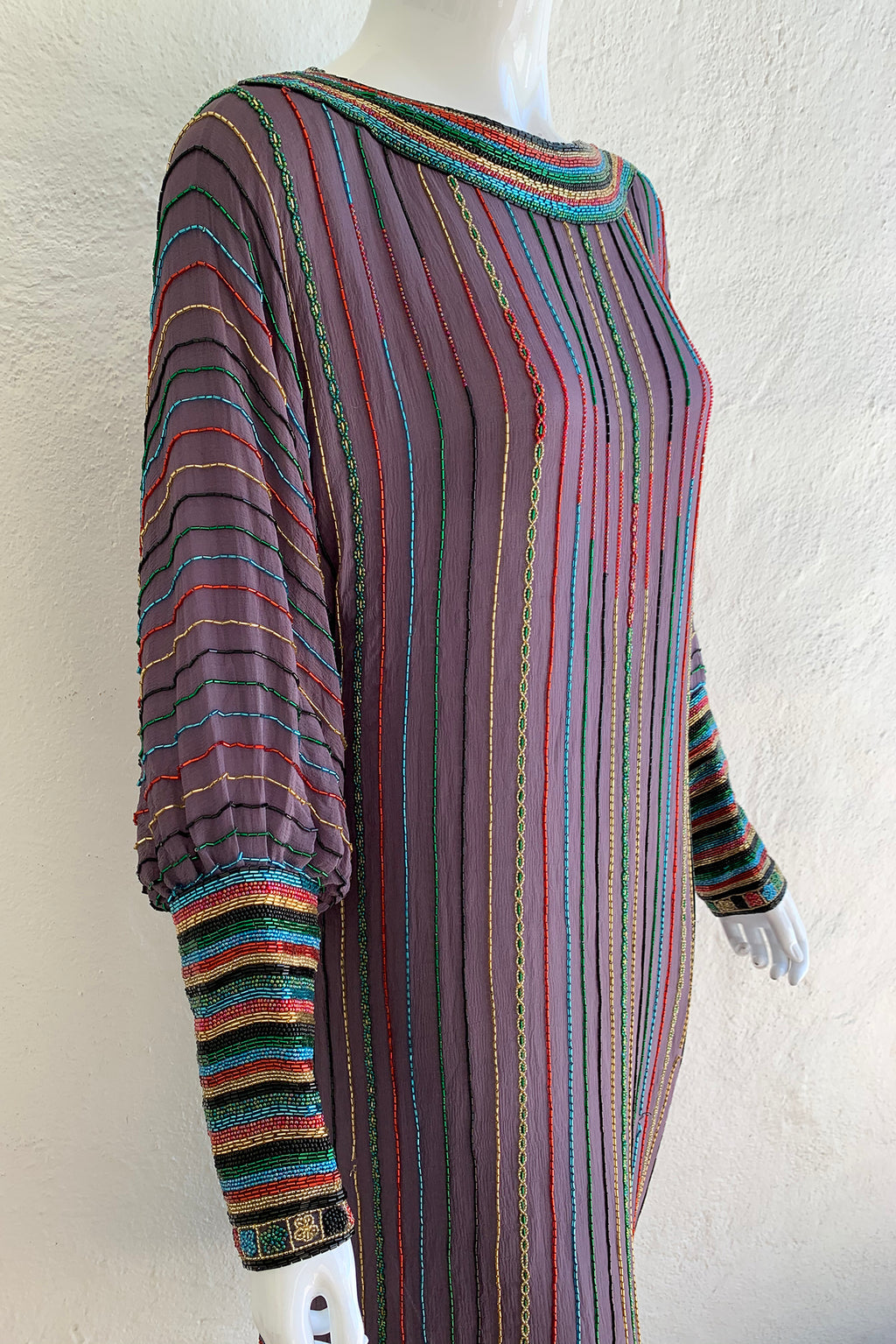 Vintage Sistermax Rainbow Beaded Midi Shift Dress on Mannequin angle crop at Recess