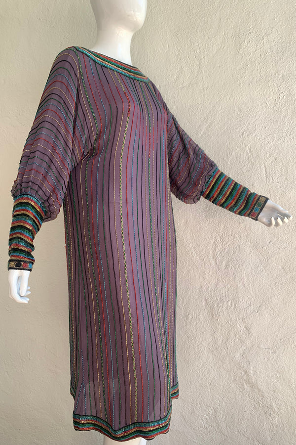 Vintage Sistermax Rainbow Beaded Midi Shift Dress on Mannequin angle at Recess