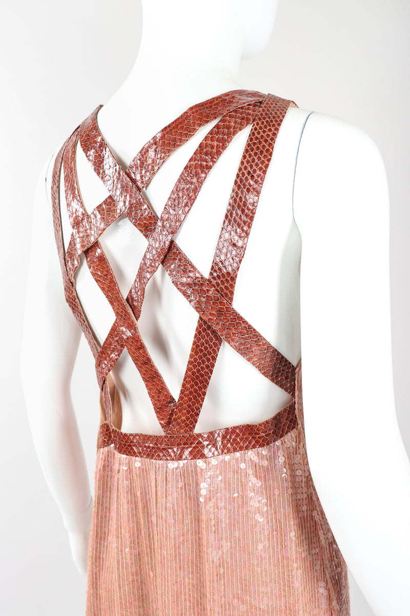 Recess Designer Consignment Vintage Sistermax Snake Trimmed Nude Blush Sequin Dress Los Angeles Resale Mariano Fortuny