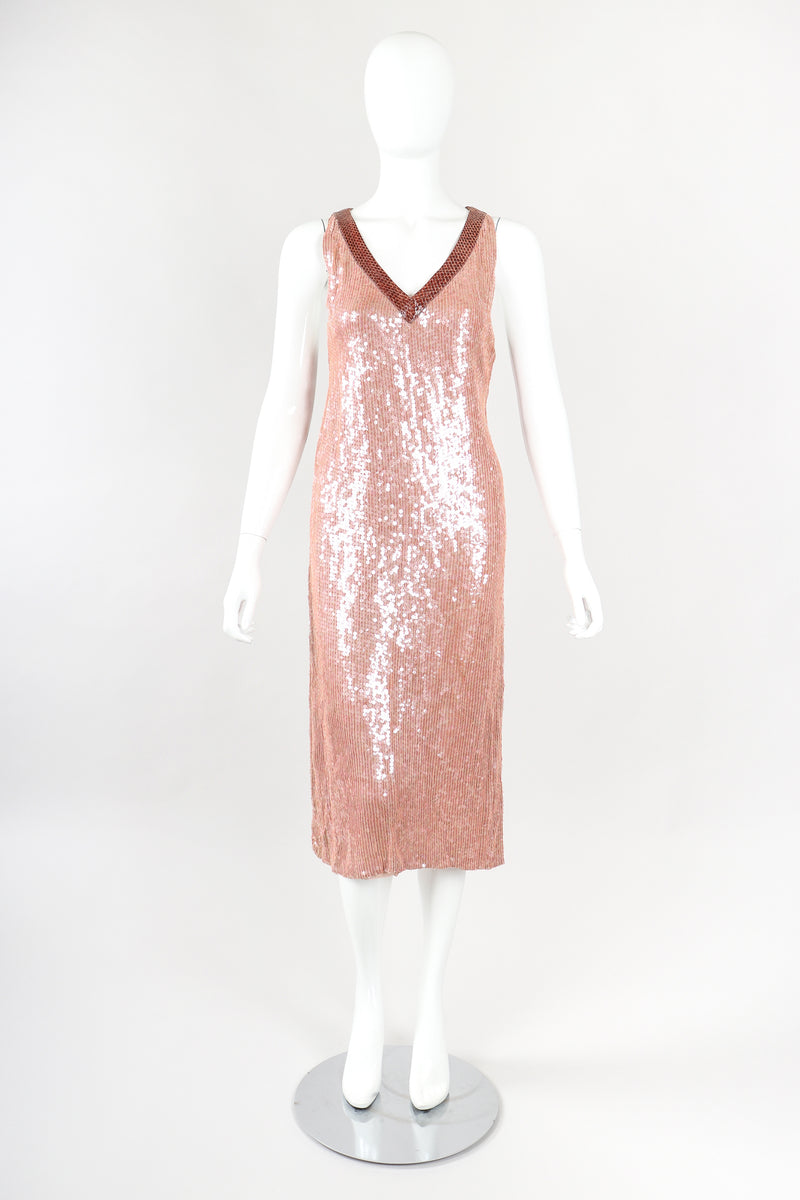 Snake Trimmed Sequin Dress