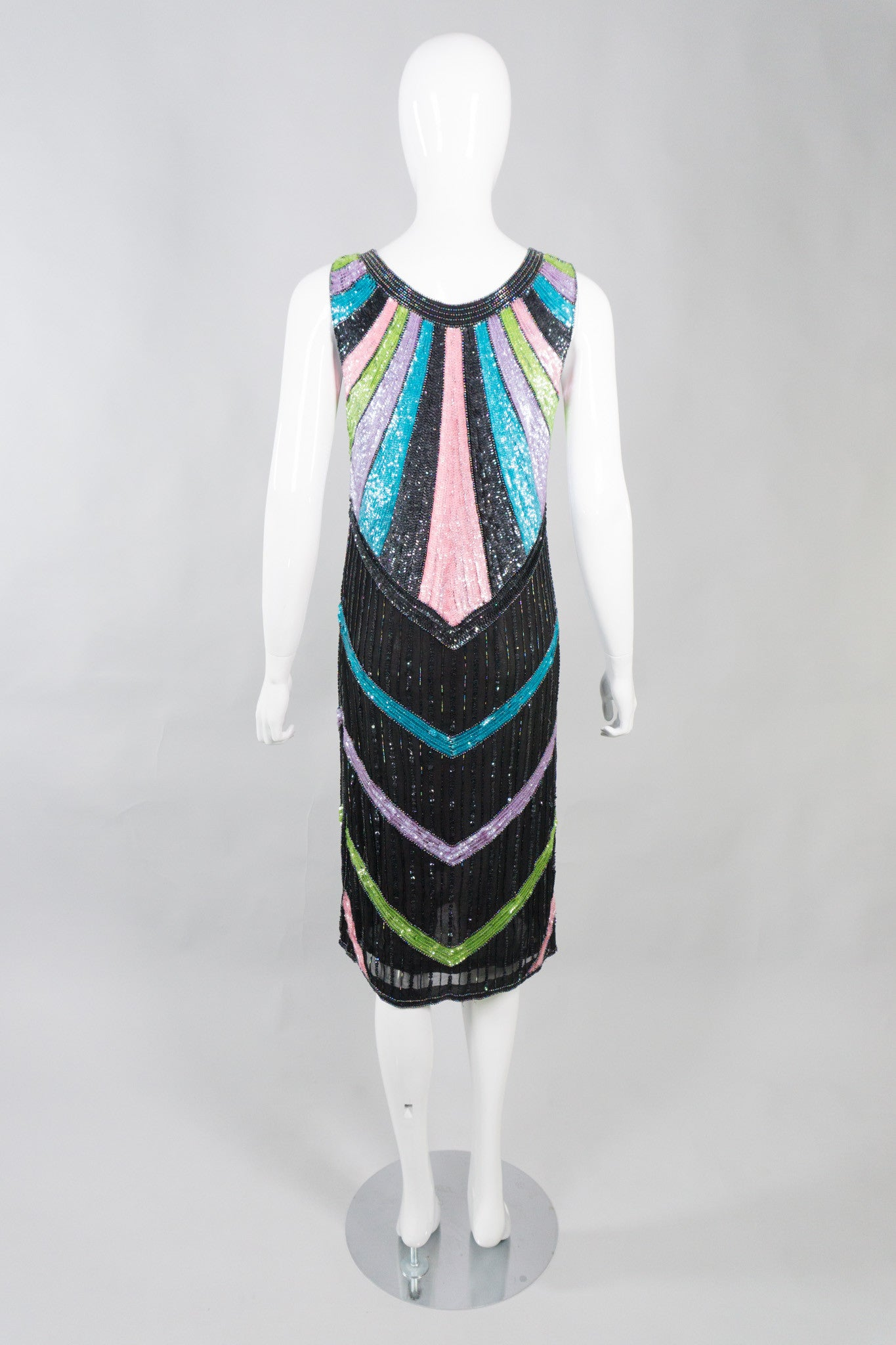 Sistermax Vintage Beaded Candy Chevron Dress