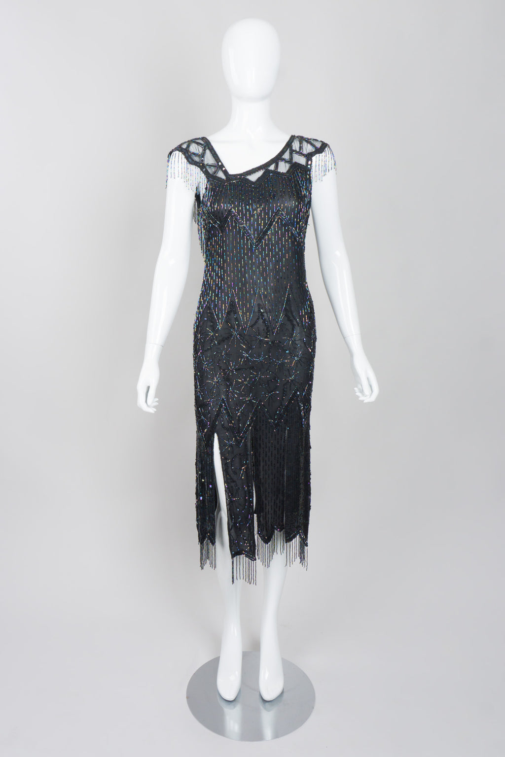 Sistermax Asymmetrical Silk Beaded Fringe Dress