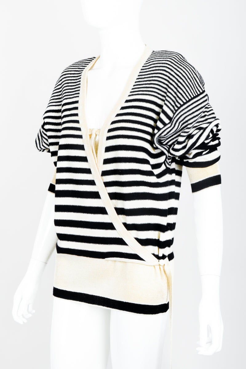 Vintage Sonia Rykiel White Stripe Knit Boyfriend Wrap Sweater on Mannequin angled at Recess