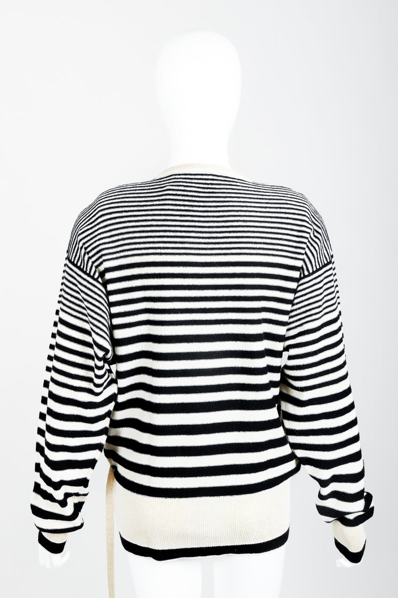 Vintage Sonia Rykiel White Stripe Knit Boyfriend Wrap Sweater on Mannequin back at Recess