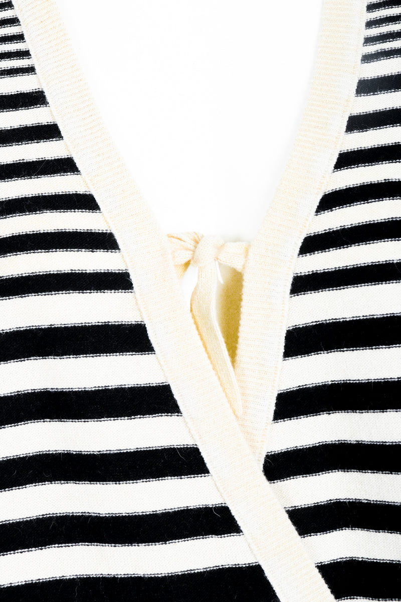 Vintage Sonia Rykiel White Stripe Knit Boyfriend Wrap Sweater on Mannequin front detail at Recess