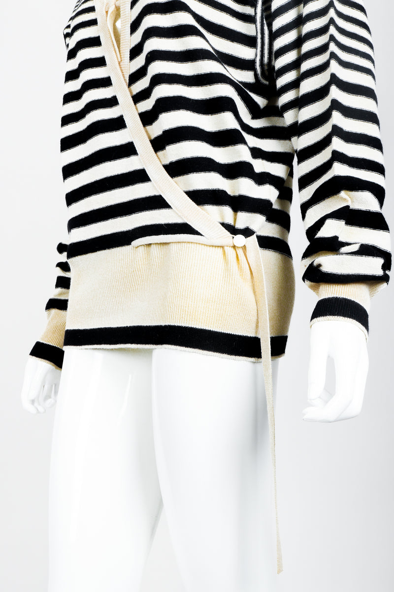 Vintage Sonia Rykiel White Stripe Knit Boyfriend Wrap Sweater on Mannequin faux wrap at Recess