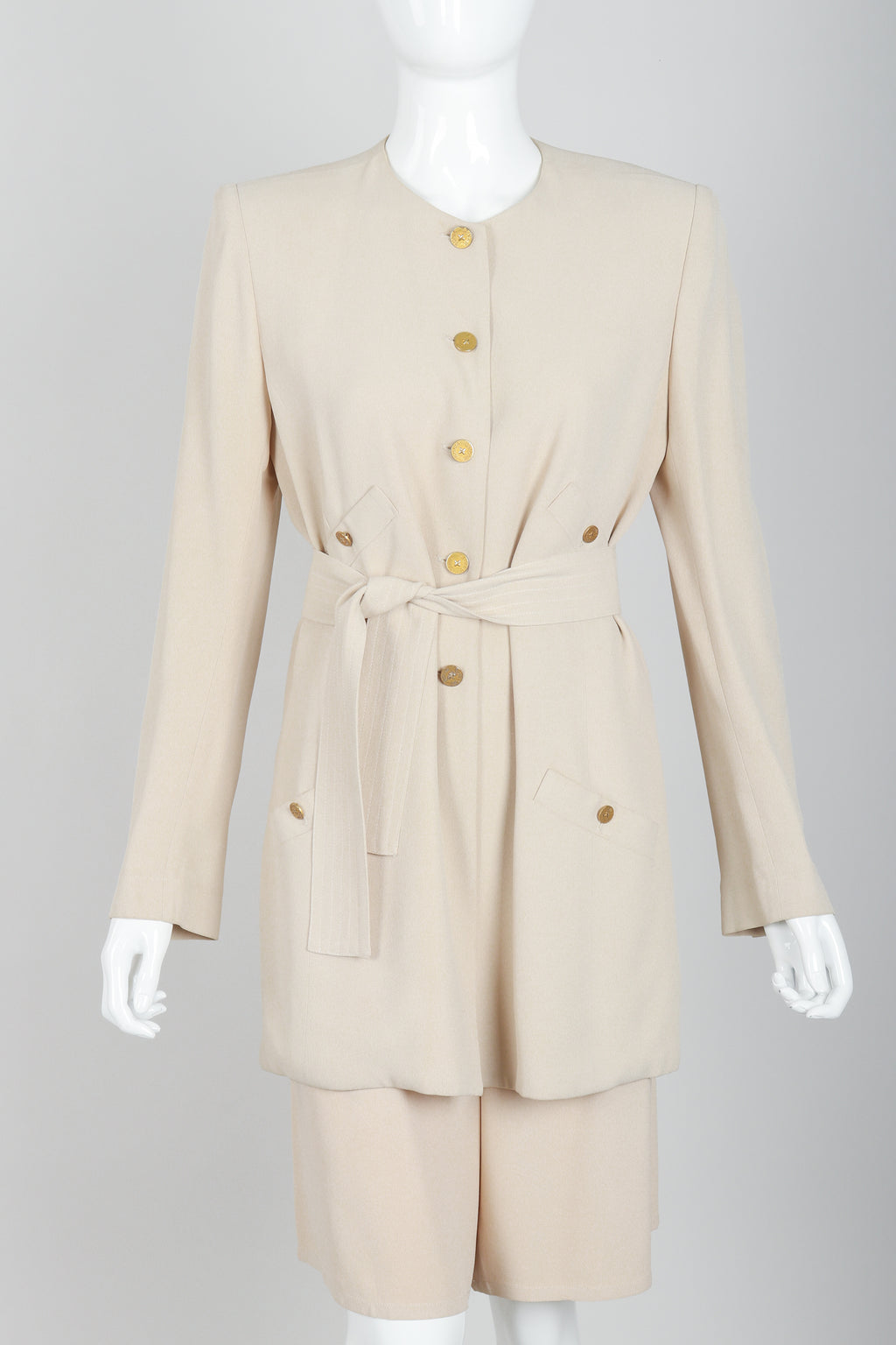 Vintage Sonia Rykiel Sand Crepe Belted Jacket & Short Set on Mannequin front crop at Recess
